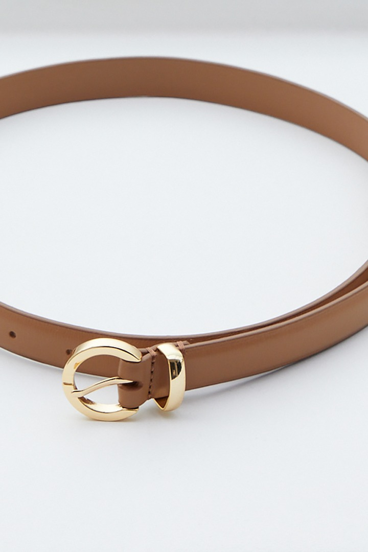 Solid Volume Leather Belt (Camel)
