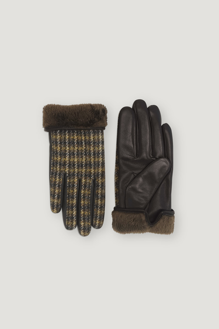 Oblique Leather Gloves (Check)